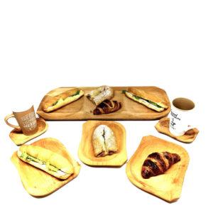 NOVO U PONUDI—Drveni set tanjura i plata –SET OD 13 KOMADA–
