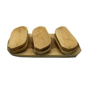 NOVO U PONUDI—Drveni set tanjura i plata –SET OD 7 KOMADA–
